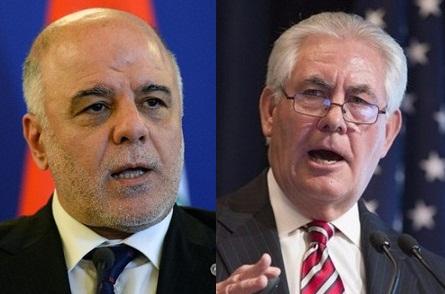 في اتصال هاتفي مع العبادي.. وزير الخارجية الامريكي يرفض استفتاء اقليم شمال العراق
