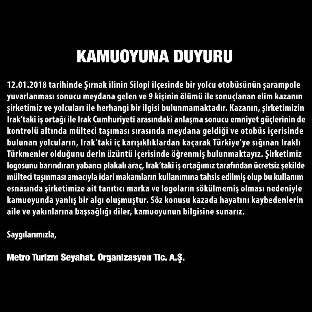 Metro Turizm'den Telaferli Türkmen Taşıyan Otobüs Kazası Açıklaması