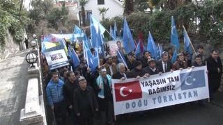 Doğu Türkistan'da Çin Başkonsolosluğu Önünde Eylem Yapıldı
