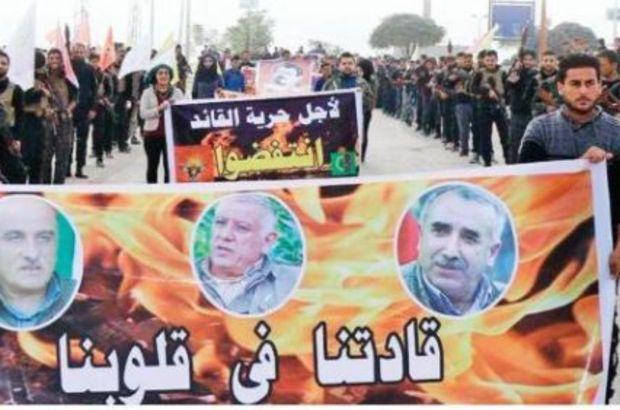 PKK/PYD'li Teröristler Tel Abyad'da Elebaşları İçin Yürüyüş Yaptı